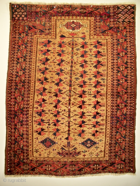 "Turkmen-Baluch prayer rug, NE Persia/NW Afghanistan, size 54"" x 41"" (137 x 104 cm), circa 1850 - 1880, it appears this unusual rug was first published in 1997, to date there are  ..."