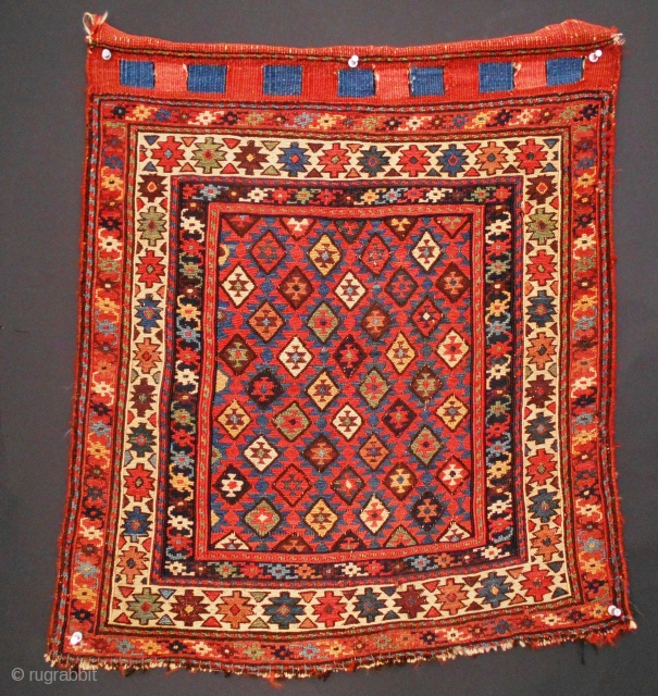 "Shahsavan bag face (#415), Khamseh region, NW Persia, 22"" x 24"", this weaving represents the masterful blending of exceptional color with the imagination of an experienced and skillful weaver, the olduz or  ..."