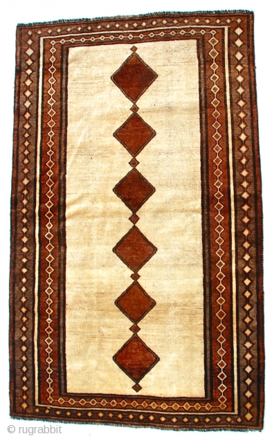 """Persian Kurdish Gava or Gabbeh, beautiful design, excellent condition for age, early mid century. 74"""" 44"""""""