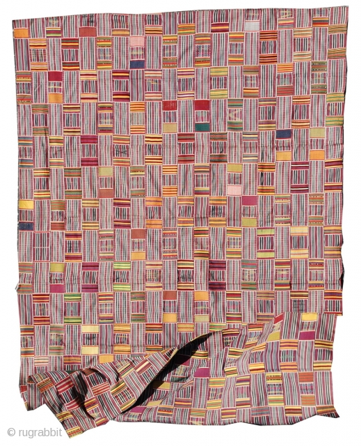 "1930s Ewe Kente Cloth 8'2"" x 5'2"" , a stunning strip woven wrapper.