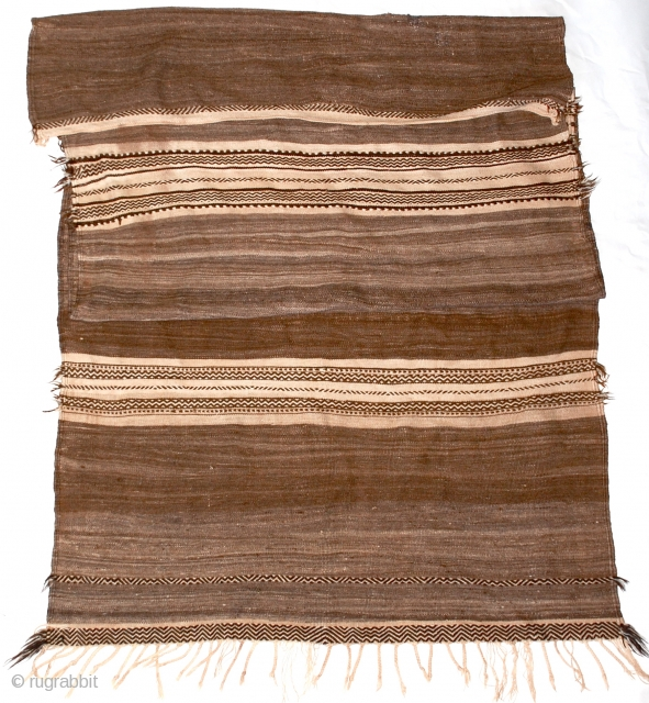 Berber Glaoua Tribal Blanket/Rug  A classic early Glaoua, used for storage of wheat, in finely woven all natural, undyed wool with geometric design form the High Atlas Mountains, Morocco.