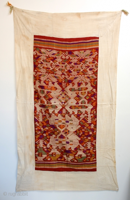 """Tai Daeng weaving, Silk supplementary weft with silk embroideries, fantastic early piece. 67"""" x 38"""""""