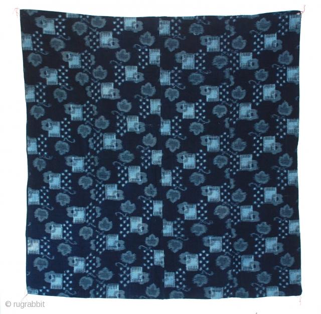"A beautiful Kasuri (ikat) handwoven cotton, indigo dyed futon cover with stripe back, Japan, Meiji Perios 19th century. excellent condition 46"" x 45"""