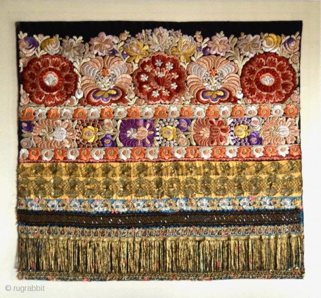 "Hungarian Matyo silk hand-embroidered with gold metallic threads and beads, man's apron, part of a folk costume, early 1900s Mezokovesd, Northern Hungary. Cloth 25"" x 23""