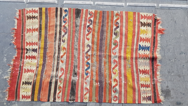 Size : 85 x 130  Middle anatolia .  When I found it, the was in very bad condition in warehouse. the eldest of the family 80 years old(her grandmother gave her a  ...