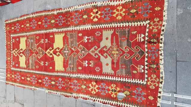 Size : 120 x 290  Obruk, Konya area, antique kilim. Late 19th or early 20th century.