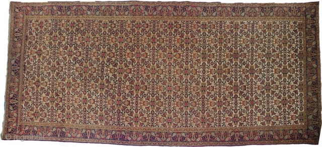 Good Dorokhsh ivory field kelleh, north east Persia, last quarter 19th century, 12ft. 5in. x 5ft. 2in. 3.78m. x 1.58m. Overall even wear with small repairs. Note the most attractive all over  ...