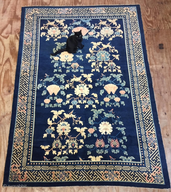 All in natural,very soft and Clean,Antique Chinese Ningxia Rug,Good pile,some old minor in visible repairs,Ca:1920 Size:9.3ft by 6.6ft Size:280cm by 198cm