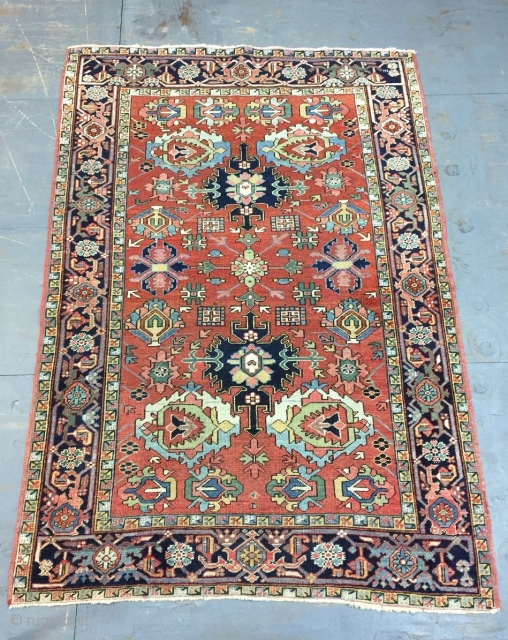 Antique Handmade Persian Heris Rug,Somewhere is professional Repaired,all in natural,Clean,Low pile,Around 100 years old,Size:224cm by 159cm