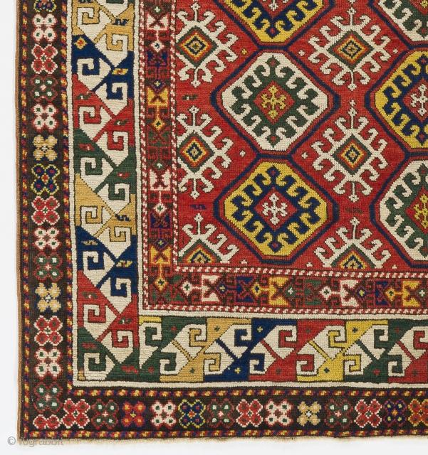 Antique Caucasian Gendje Rug, 4.4 x 5.9 Ft  (135x175 cm), ca 1880, very good condition, original as found.