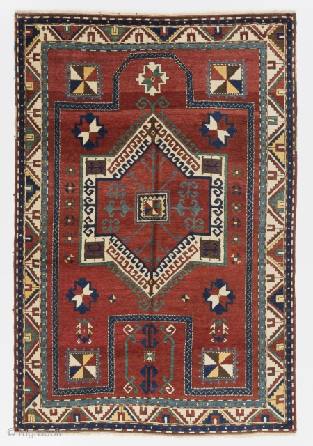 "Antique Caucasian Kazak Rug, 4'9"" x 7' - 146x215 cm, ca 1900-1910. Very good condition, all original, even medium pile. It was hanging on a wall for most of its life. Inventory  ..."