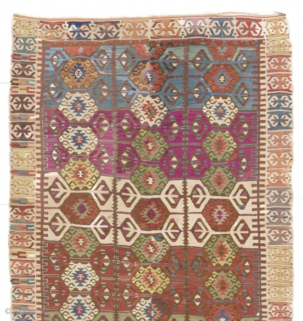 "Decorative Antique Turkish Kilim,  4'9"" x 11'2"" - 146x370 cm, ca 1900"