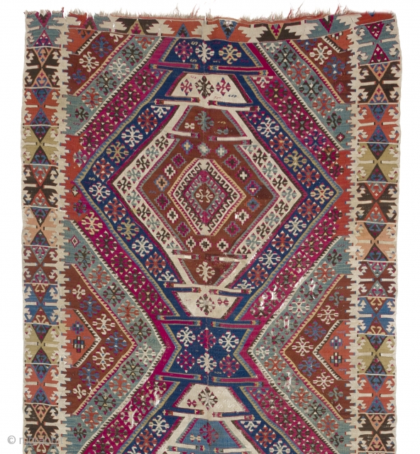"Colorful Antique Anatolian Reyhanli Kilim, 5' x 13'6"" (152x411 cm)"