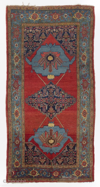 A dramatic antique Persian Bidjar rug as found, 5 x 10 Ft - 153x300 cm