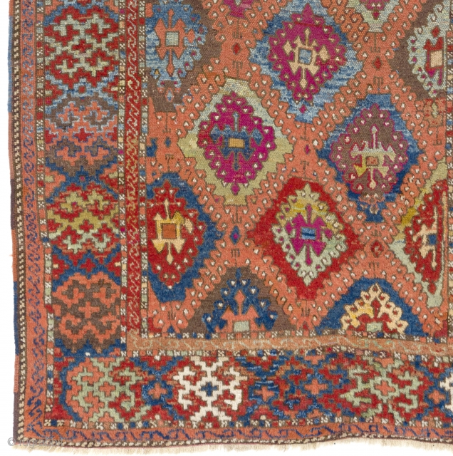 Antique Kurdish Rug with diamond lattice design, East Anatolia, possibly Sarkisla (Şarkışla) in Sivas Region, 19th Century.