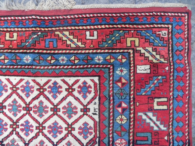 Caucasian Kazak Rug, 7.2 x 4.11 ft, Dated 1305 (1887 AD), full pile, original ends and sides.