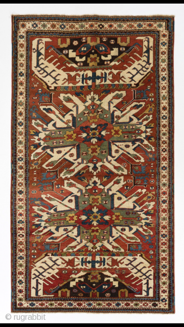 """Antique Caucasian Chelaberd (so called Adler or Eagle Kazak) Rug,  4'5"""" x 8'2"""" - 135x250 cm, late 19th Century. Please ask for more images and condition report."""