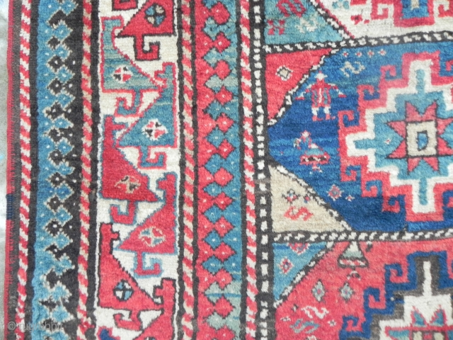 Caucasian Kazak Rug, 3.11 x 7.9 ft. Delightful colours, soft, lustrous and full pile, 19th century,