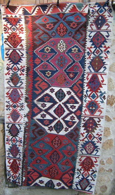 Beautiful Malatya kilim fragment,19th cent,fantastic colors,cotton-wool,cm.104x175                           