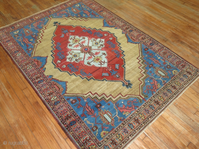Rare square compact size Camel Field circa 1900 Persian Bakshaish rug. The harmonious colors, skillful geometry and weavers craftsmanship make this rug an absolute work of art. The quality on this as  ...