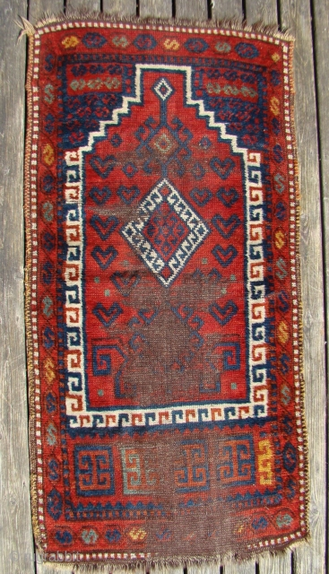 Small Eastern Anatolian? Prayer rug. 27X52 inches or 69X132 Cm. All intact with localized wear.