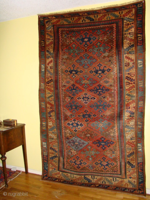 """Great looking antique Persian Kurdish Sauj Balagh rug. Fine Wool Foundation, supple and in great shape. Detail photos available. SIZE: 56"""" X 91""""  OR 142 X 231 cm"""