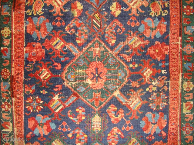 Colorful Caucasian Kuba Bird rug. 45X69 inches 115X175 Cm. A few of the red arrows in the top border seem to be synthetic but the rest are great colors. Scattered old repair/repile  ...