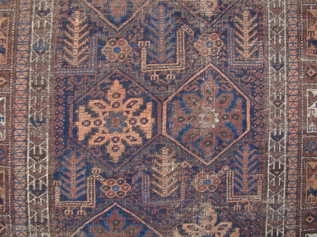 """Baluch Runner with Birds. 4'2""""X12' ...127X366 Cm. Worn but all intact with the Kilim ends."""