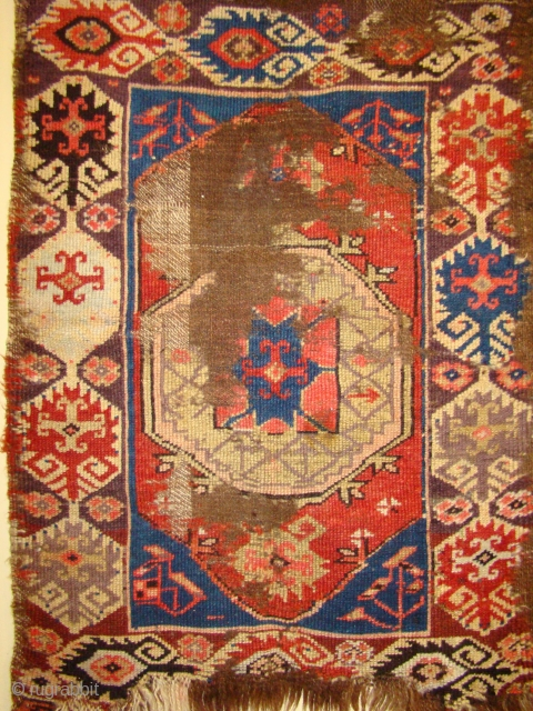 "Early Central Anatolian Karapinar Yastik. 22""X 30""/36"""