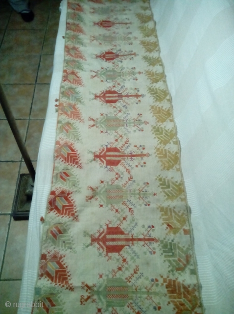 A 18-19th c Greek Island textile from KOS,silk on cotton L2,03m x W50cm . Very good condition.