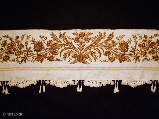 A 19th-18th c. Greek Ottoman style fragment. Gold metallic thread on cotton. Exellent condition.