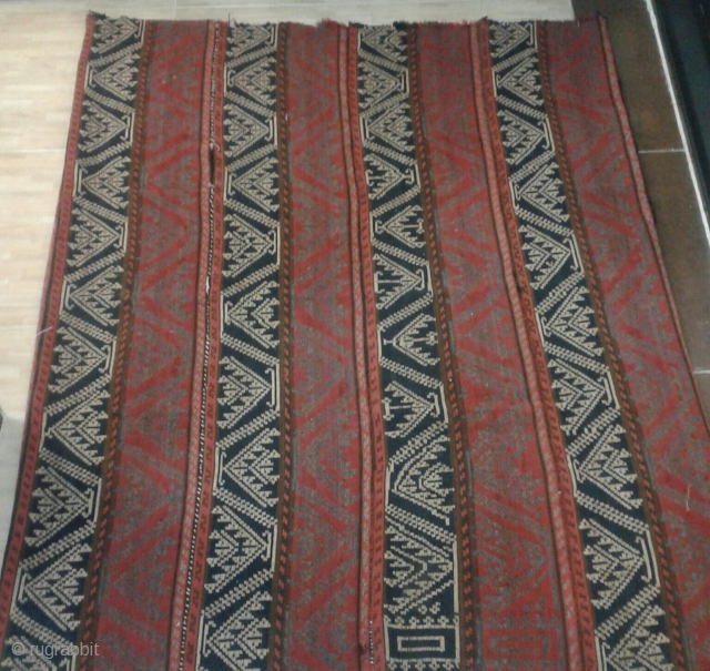 kurdistan-IRAN jajim from mid 19th century. size:130*170cm This type of jajim is called Shagha using most advanced knotting technique among jajims which have narrow stripes. wool on wool