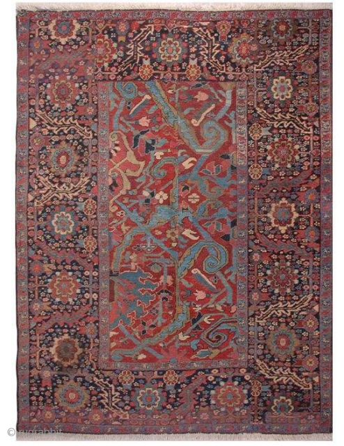 Late 19th century from Heriz. knotted by master seyed hasan ganjehei. In restored condition.  142*190cm