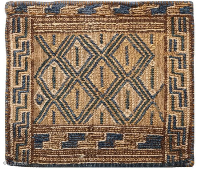 Hand made Tobreh from Sirjan-Iran belongs to the first half of the 20th century. Tobreh was used to carry small and necessary things like salt.  material : wool vegetable dye size:30 × 35