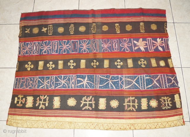 #rb055 Rare 19th century Indonesia Lampung south Sumatra Tapis cucuanda ceremonial cloth, natural color gold threat silk embroidery.