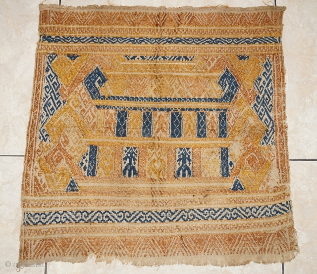 #rb063 a rare silk embroidery Tampan ceremonial cloth from Lampung region south Sumatra Indonesia, Paminggir people handspun cotton natural dyes supplementary weft weave, good condition size: 47 cm x 47 cm