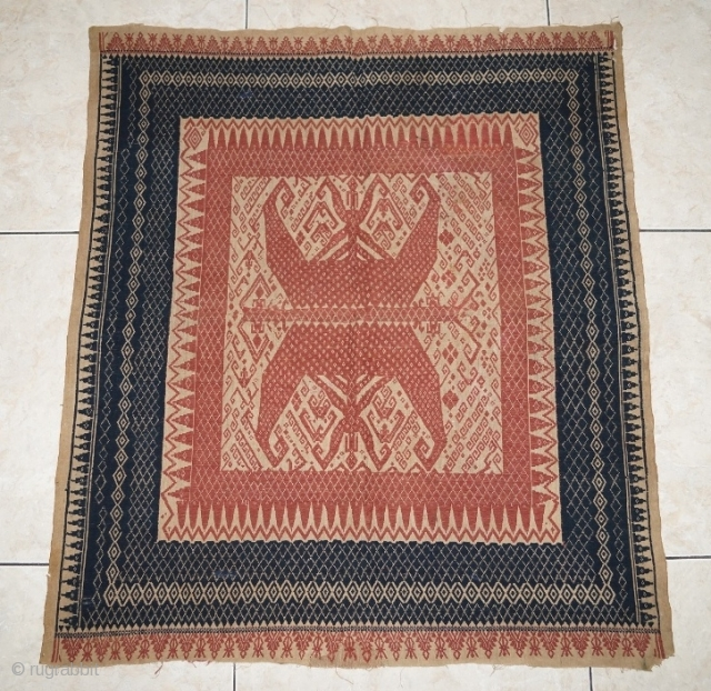 #rb031 Rare and large Red Tampan ceremonial cloth Kalianda or Jabung district Lampung south Sumatra Indonesia, Paminggir people handspun cotton natural dyes supplementary weft weave, rare with red and blue color motif,  ...