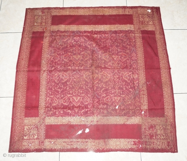 #RB038 Tengkuluk Mans ceremonial head cloth, Malay people Palembang region south Sumatra Indonesia, 19th century, weft ikat silk gold threat natural dyes supplementary weft weave, fairly good condition with few holes please  ...