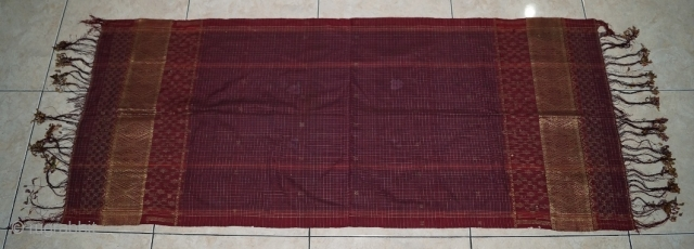 #rb 040 Minangkabau head cloth / shoulder cloth, Minangkabau people west Sumatra Indonesia, late 19th century, silk gold threat supplementary weft weave natural dyes, good condition with holes and re stitched please  ...