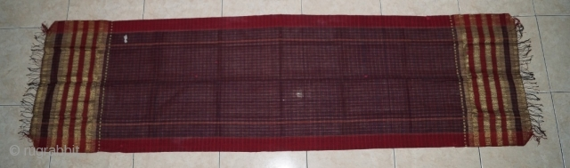 #RB 041 Minangkabau head cloth / shoulder cloth, Minangkabau people west Sumatra Indonesia, late 19th century, cotton silk gold threat supplementary weft weave natural dyes, good condition. size: 248 cm x 48  ...