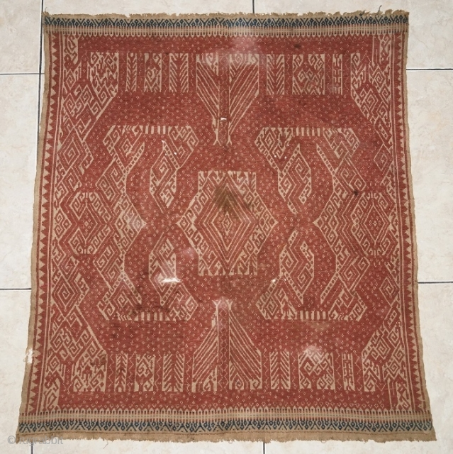 #rb050 A large red Tampan ceremonial cloth from Kalianda or Jabung region Lampung region south Sumatra Indonesia, Paminggir people handspun cotton natural dyes supplementary weft weave, good condition with small hole please  ...