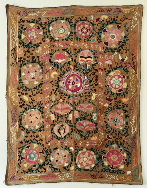 An lovely Antique Uzbek silk suzani dating to early 1900's. Though such types are often generically called lakai, It is likely made in rural areas around the city of Shahrisabz or Karshi  ...