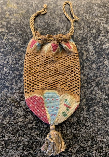 An exceptional and very rare antique Syrian or Lebanese silk woven bag / pouch dating between the late 18th century and early 19th century. Syria and Lebanon produced some of the most  ...
