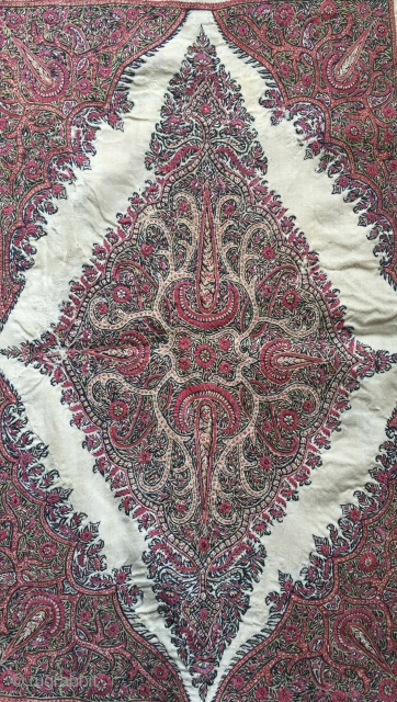 a very fine antique Persia Kerman / Kirman embroidered hanging. This rare piece of textile art dates to 19th Century and boasts a very intricate design with exceptional colours and highest quality  ...