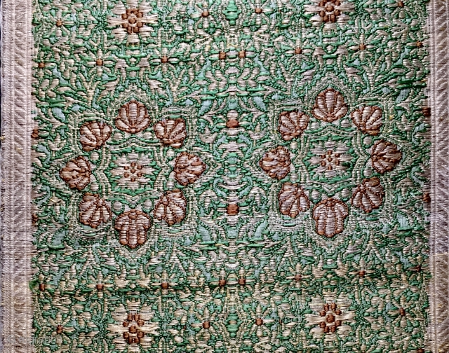 A very rare antique aristocratic Maharaja's Indian silk and real gold thread woven Banaras brocade dowry yardage textile dating to the second half of 19th century. It is intricately woven with the  ...