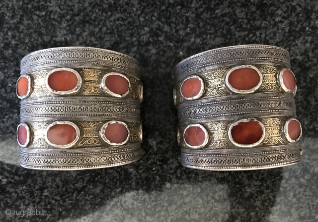 A very rare pair of antique 19th century Turkoman / Turkmen ( Yomud / Yomut tribe ) Turkoman Bridal bracelets known as Bilarziks. Among Turkoman jewellery collection, such genuine antique  Yomud  ...