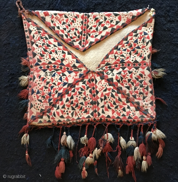 A brilliant antique Turkoman / Turkmen felt / namad with applique Bokcha bag attributed to the Yomud / Yomut tribes. This magnificent textile dates to the 19th century. As rare as these  ...