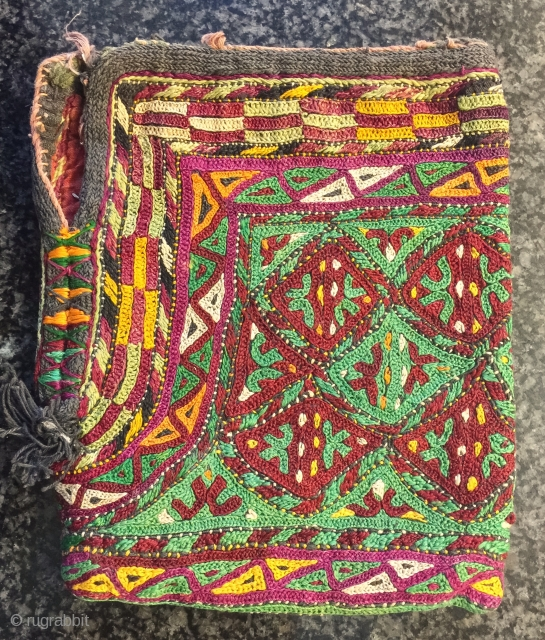 A fine Antique Turkoman / Turkmen Ersari tribe silk embroidered bag dating to 19th century. Out of most central Asian silk bags, the Ersari types are some of the finest and visually  ...