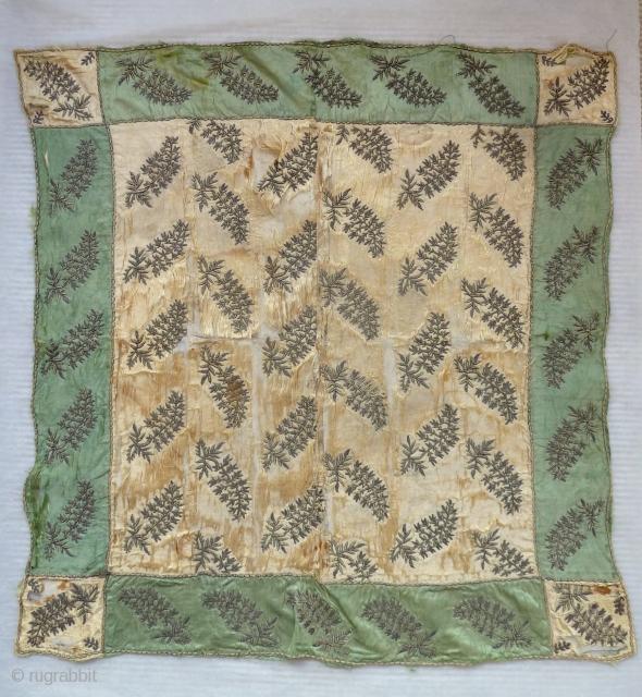 A rare Ottoman silk bohca, 18th century. 70cm square, condition as shown.