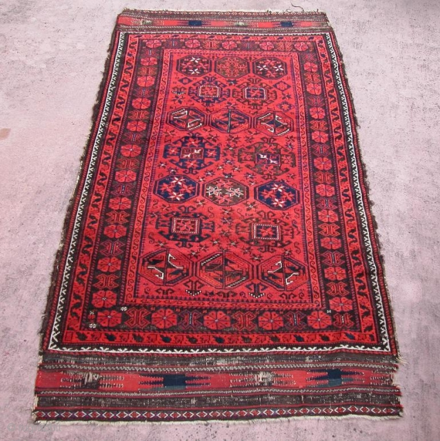 "Qainat Baluch, 3rd Qt. 19th century, or before. A very minor reweave to one small area of brown corrosion, otherwise on repairs. 3'6"" x 6'10""."